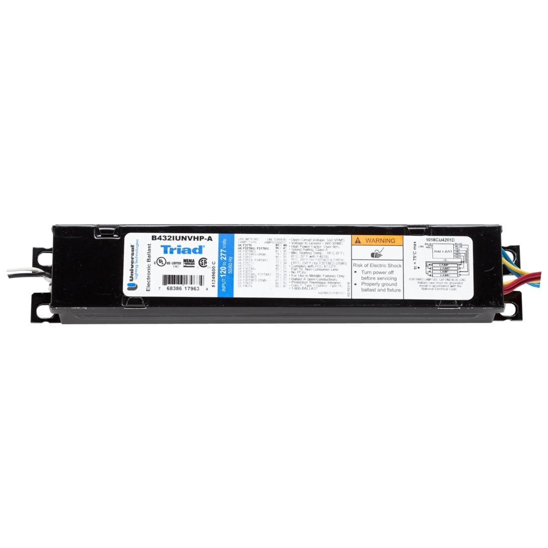 universal instant start electronic fluorescent ballast for 3 4 f32t8. Black Bedroom Furniture Sets. Home Design Ideas