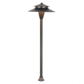 "Lite the Nite LED Low Voltage 12V AC or DC  Dimmable Aluminum Landscape Path Light - 8.25"" Tier - Includes 4 Watt 169 2800K Lumen Light Array and Ground Stake (AP148TBZ)"
