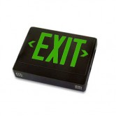 LED Double Faced Black Exit Sign with Green Letters - Remote Head Capable and Battery Backup (EZXTEU2GBEM-RC)