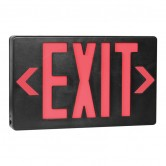 LED Double Faced Black Exit Sign with Red Letters - Battery Backup (EZXTEU2RB-EM)