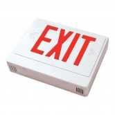 LED Double Faced White Exit Sign with Red Letters - Remote Head Capable and Battery Backup (EZXTEU2RWEM-RC)