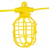 Bergen 100ft 14/2 Temp Light Stringer - 10 Socket Cages Included with Plug & Connector - Not Recommended for Rough Service Lamps 100 Watts and Higher (GL100-142MPC)