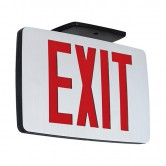 LED Single Faced Thin Die-Cast Aluminum Exit Sign with Red Letters - Battery Backup (KZXTEU1RAEM)