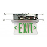 LED Single Faced Clear Recessed Edge Lit Exit Sign with Green Letters - Battery Backup (RELZXTE1GCAEM)