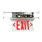 LED Single Faced Clear Recessed Edge Lit Exit Sign with Red Letters - Battery Backup (RELZXTE1RCAEM)