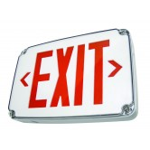 LED Single Faced White Exit Sign with Red Letters - Wet Location Rated and Battery Backup (WLEZXTEU1RWEM)