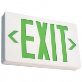 LED Double Faced White Exit Sign with Green Letters - Battery Backup (EZXTEU2GW-EM)