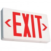 LED Double Faced White Exit Sign with Red Letters - Battery Backup (EZXTEU2RW-EM)