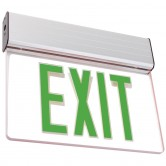 LED Single Faced Clear Edge Lit Exit Sign with Green Letters - Battery Backup (ELXTEU1GCAEM)