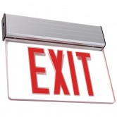 LED Single Faced Clear Edge Lit Exit Sign with Red Letters - Battery Backup (ELXTEU1RCAEM)