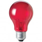 25 Watt A19 Incandescent 130V Medium (E26) Base Transparent Red Bulb (A19RED25T)